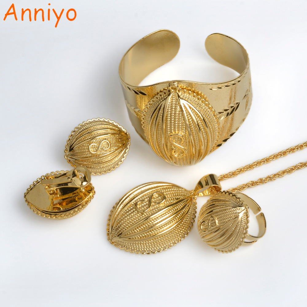 Anniyo Newest Bridal Ethiopian Jewelry Sets Gold Color & Copper Lucky Infinit African Eritrean Habesha Wedding Bets Gift #058302