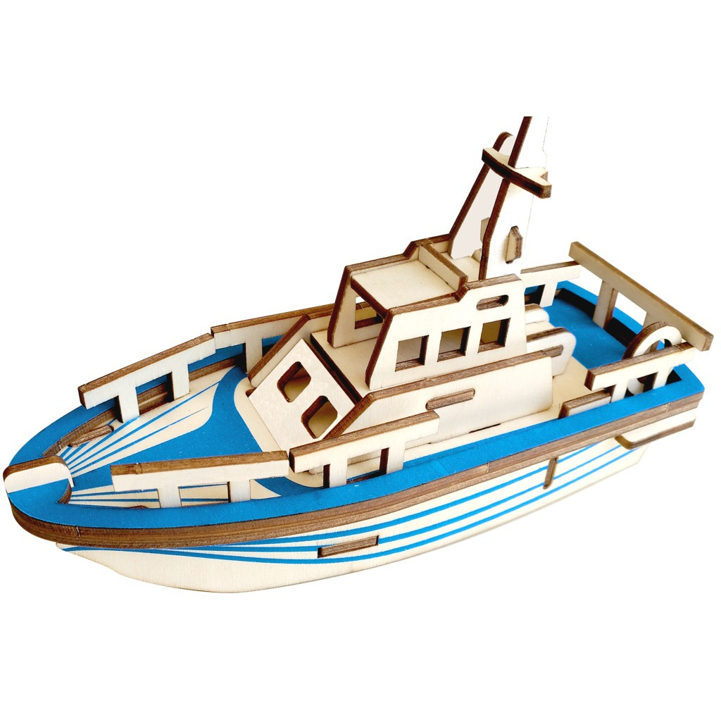 Laser Cutting 3D Wooden Puzzle Jigsaw Navigation Life Boat DIY Assembly Kids Educational Wooden Toys ForChildren Boys