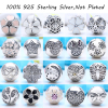 21 Kinds 100 Authentic 925 Sterling Silver Charm Clips Beads Fit Pandora Charm Bracelet DIY Clip