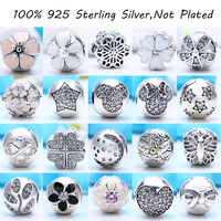 21 Kinds 100 Authentic 925 Sterling Silver Charm Clips Beads Fit Pandora Charm Bracelet DIY Clip