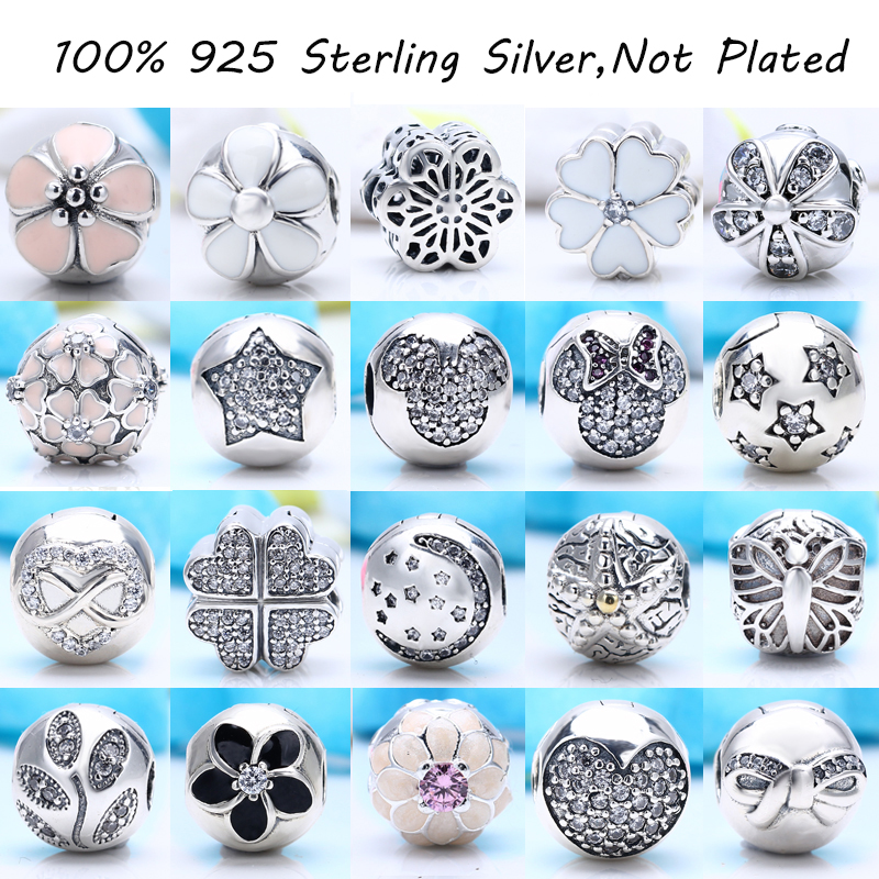 100% Authentic 925 Sterling Silver Charm Clips Beads Stopper Lock Fit Pandora Charm Bracelet DIY Original Silver Jewelry Making