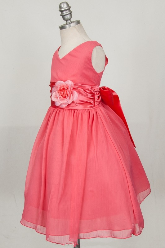 c7c7e91e96a27 Coral Flower Girl Dresses V neck Chiffon Handmade Flower Child ...