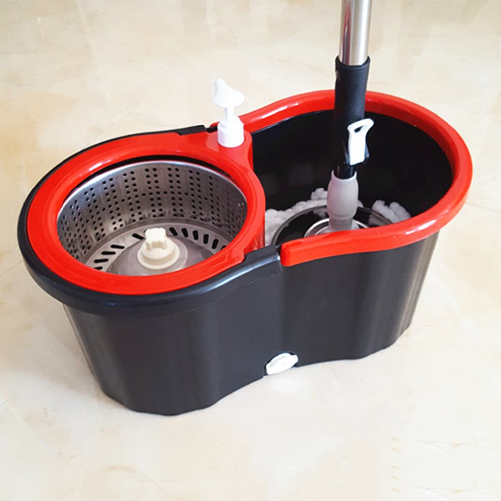Mop Floor-Mop Spin Magic Hands-Free Fiber With 2 Microfiber-Mop-Heads 360-Rolling Mop-Bucket-Set