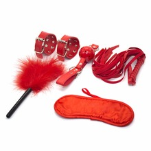 Premium 5Pcs Red SM Bondage Set Leather Fetish Adults Games Cuff Whip Sex Toys for Couples Slave Game Product Erotic