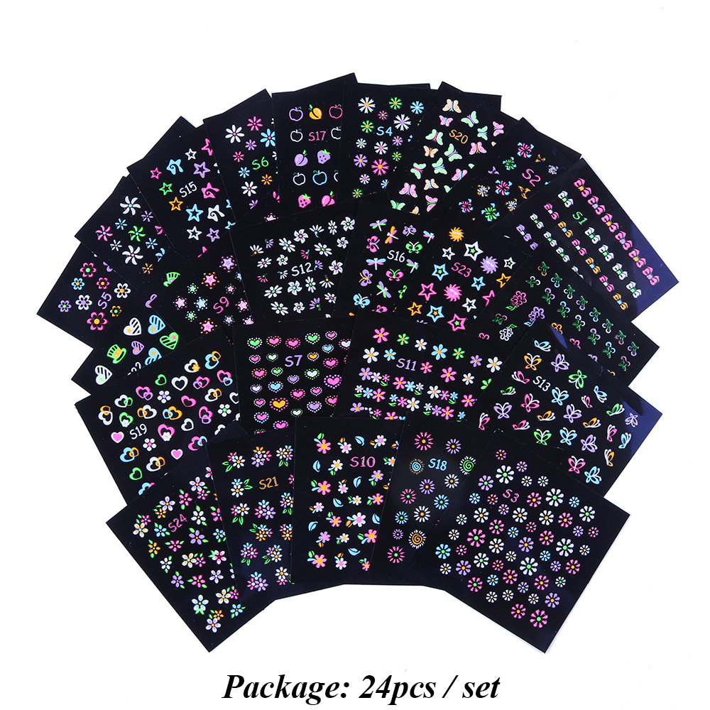 Image 5 - 24pcs 3D Fluorescent Nail Art Stickers Glowing Foils Rainbow Flowers Patterns Sliders Adhesive Nail Decorations Manicure TRS1 24-in Stickers & Decals from Beauty & Health