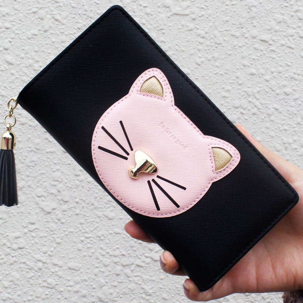цены Fashion Design Cute Cartoon Cat Women Purse Wallet Card ID Holder Ladies Clutch Purse Female Long Wallet Hasp Zipper Money Bag