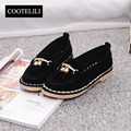 COOTELILI 35-39 Spring Flats Women Shoes Solid Casual Sleeves Lazy Loafers Ladies Shoes Round Toe Low-Heeled Fringe Singel Shoes
