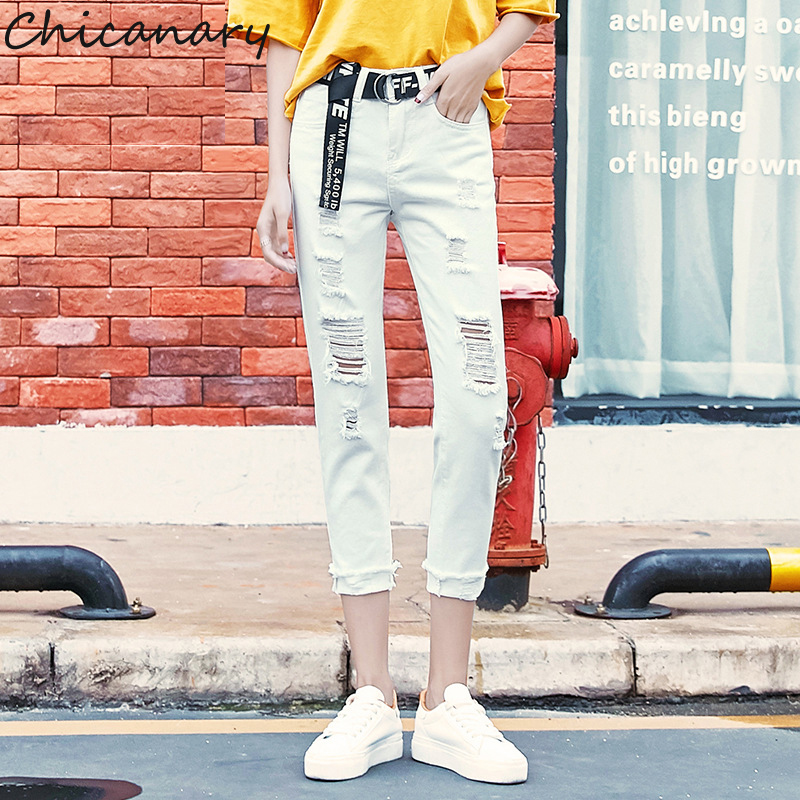 Chicanary Ripped White Jeans Women Medium Waist Distressed Cropped Denim Pants
