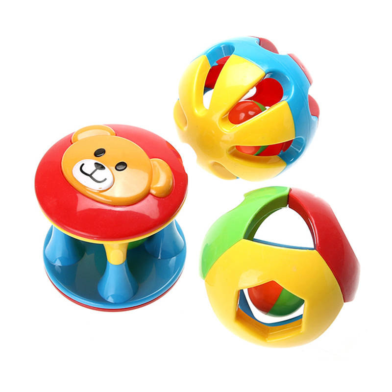 3pcs Baby Rattles Toy Fun Little Loud Jingle Ball Ring jingle Develop Baby Intelligence Baby Toy Gifts
