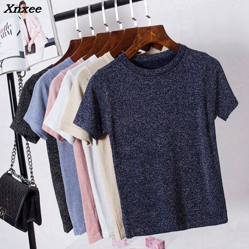 Xnxee 2018 New Summer T Shirt Women Knitted Casual Short Sleeves Top O-Neck Tshirt Slim Kintwear Female T-shirt