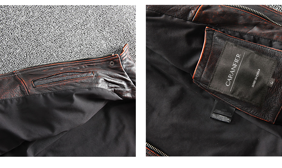 HTB1nX08XoT1gK0jSZFhq6yAtVXal CARANFIER DHL Free Shipping Mens 100% Cowhide Genuine Leather Jacket High quality old retro motorcycle leather jacket 3XL