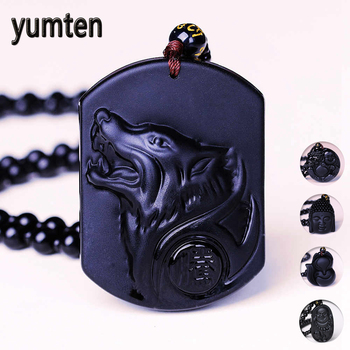 Yumten Natural Obsidian Necklaces Wolf Head Pendant Black Beaded Chain Women Party Accessories Male Classic Ornaments Animal Fox