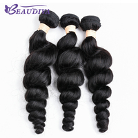 BEAU DIVA Brazilian Non Remy Hair Extension Loose Wave 100% Human Hair Weave Bundles 3 Pcs Human Hair Weave Weft Natural Color