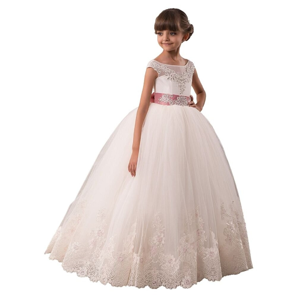 Real Image Ivory White Lace   Flower     Girls     Dresses   Ball Gown Floor Length   Girls   First Communion   Dress   Princess   Dress   2-14 Old 2018