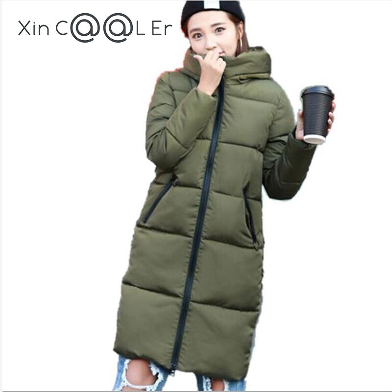 2017 Free Shipping New Autumn Winter Coat Hooded Female Warm Womens Slim Long Down Jacket Plus Size Women Clothes