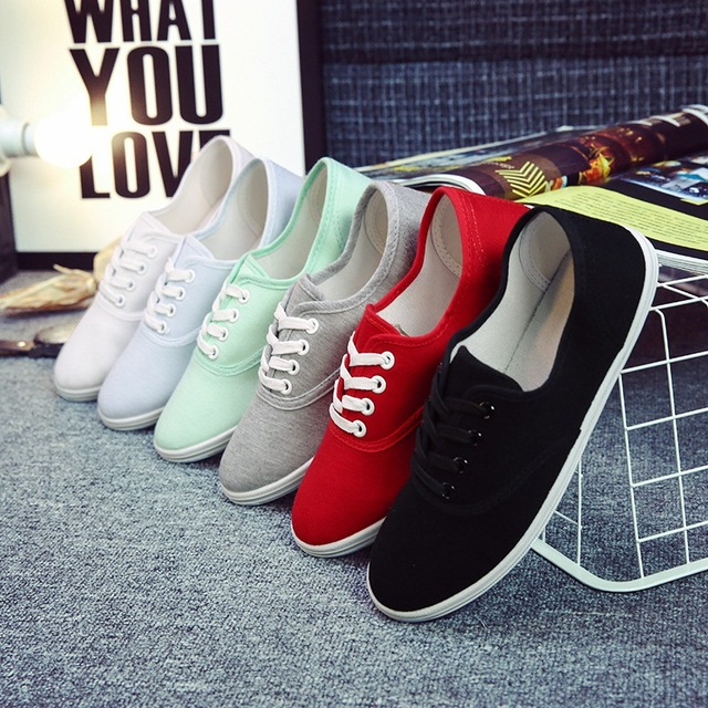 Women flats shoes 2017 fashion Solid color canvas shoes woman summer ladies shoes