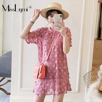 XL 5XL Plus Size Women Two Piece Dress Summer 2019 Short Sleeve Patch Polka Dot Chiffon Mermaid Dress and Strap Mini Dress Pink