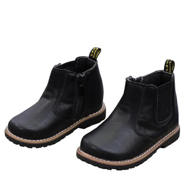 New High Quality Children Martin boots Boys Genuine Leather Autumn Winter  Girls Boots Kids Shoes Warm Plush Baby Boots 02A 6050168846c7
