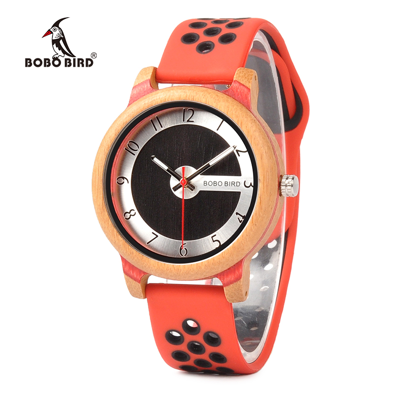BOBO BIRD Women Watches Bamboo Wood Watch Soft Color Silicone Strap Fashion Sport Wristwatch in Gift Boxes K-R11