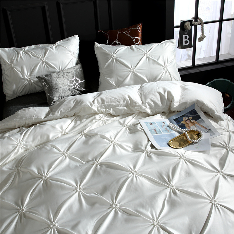 Image 2 - LOVINSUNSHINE Duvet Cover Set Luxury Us King Size Silk Duvet Cover Set Duvet Cover Satin Queen Size AC01#-in Bedding Sets from Home & Garden