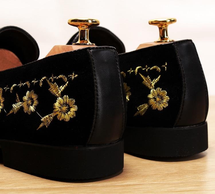 Men 2019 luxury Brand Designer shoes flock velvet Sun flower Embroidery gentleman loafers Dress Wedding driver Italian flats 5