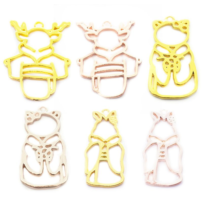 6 Pcs/Set Deer Shape Metal Frame Animal Modeling Border DIY Handmade Crystal Glue UV Jewelry Making Accessories Material Package