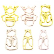 6 Pcs/set Deer Shape Metal Frame Animal Modeling Border DIY Handmade Crystal Glue UV Jewelry Making Accessories Material Package