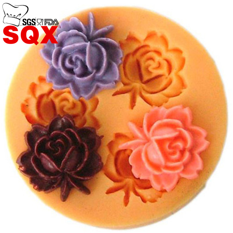 Mini 3D Silicone 3 Roses Chocolate Mould Cake Decoration Candy Soap Mold Baking Tool Craft Fondant Chocolate SQ1615