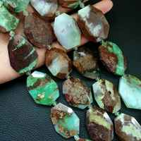"""8SE11219 25x35mm Natural chrysoprase faceted Chunk strand 15.5"""""""