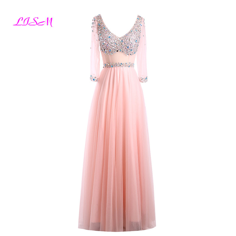 V-Neck Half Sleeves Tulle   Prom     Dresses   Crystals Formal   Dress   Elegant Robe De Soiree Longue See Through Graduation Party Gowns