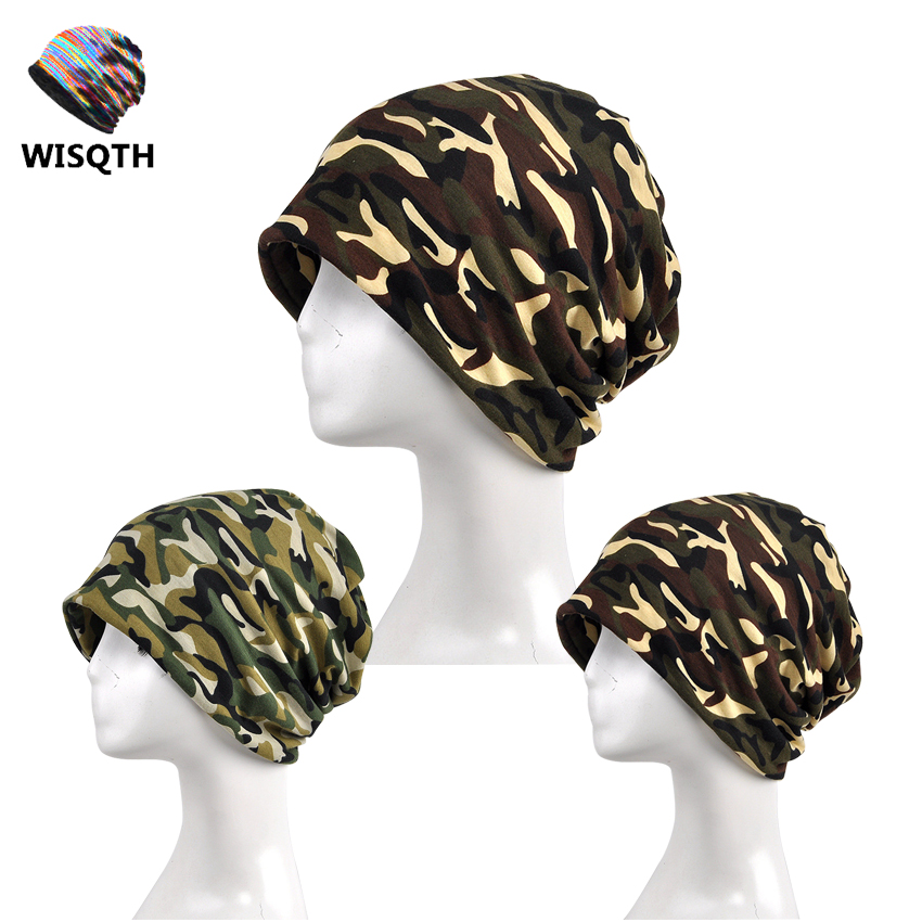 WISHQTH Brand 2017 Multi-Function Camouflage Hip Hop Beanies Collar Scarf Winter Hats for Men Women Winter Caps Skullies