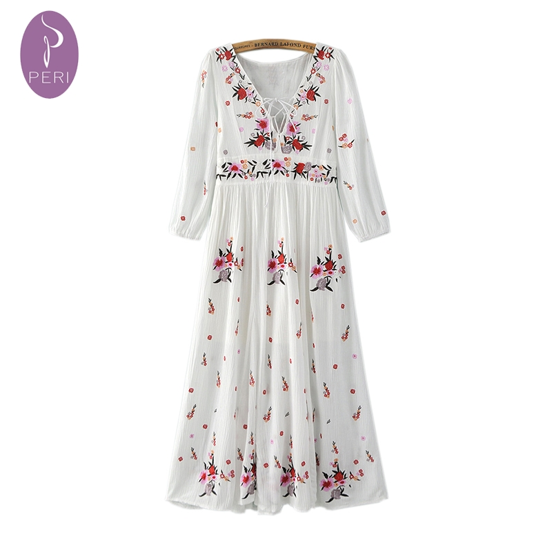 Nymph women summer dress retro floral embroidered
