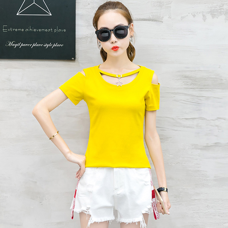 New Off The Shoulder Tops Causal T-Shirt Women Hollow Out Sequined 2018 Korean Slim Tshirt Womens Short Sleeve T Shirt Femme