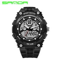 SANDA New Fashion 3ATM Waterproof LED Wrist Watches Outdoor Sports Digital Sports Quartz Watch Gift for Men Male Boy Student