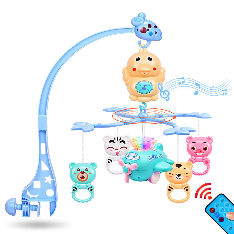 Baby bed bell 0 1 years old baby toy 3 6 12 months music rotating bedside bell rattle toy bed hanging for baby gifts in Baby Rattles Mobiles from Toys Hobbies