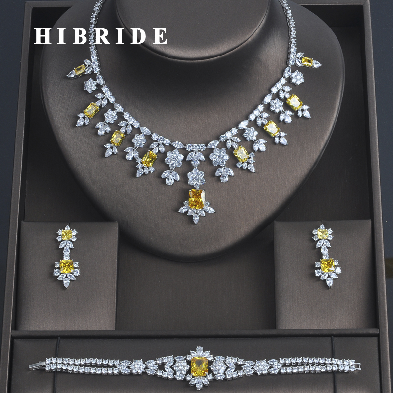 HIBRIDE 3 PCS Luxury Yellow Cubic Zirconia Women Jewelrt Sets Bridal Fashion Jewelry Wedding Party Necklace