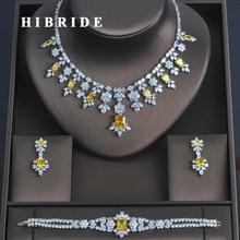 HIBRIDE 3 PCS Luxury Cubic Zirconia ผู้หญิง Jewelrt ชุดเจ้าสาวแฟชั่นเครื่องประดับงานแต่งงานชุดสร้อยคอ N 335