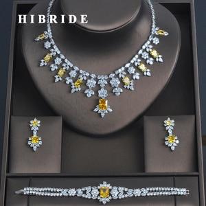 Image 1 - HIBRIDE 3 PCS Luxury Yellow Cubic Zirconia  Women Jewelrt Sets Bridal Fashion Jewelry Wedding Party Necklace Set N 335