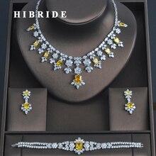 HIBRIDE 3 PCS יוקרה צהוב מעוקב Zirconia נשים Jewelrt סטי כלה תכשיטים חתונה מסיבת שרשרת סט N 335