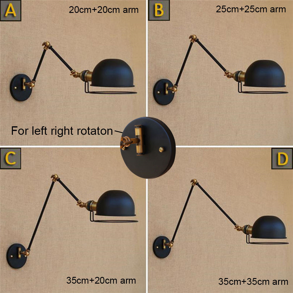 2018 New Designer light left right up down rotation wall lamp vintage black swing arm wall light loft style home wall sconce luz