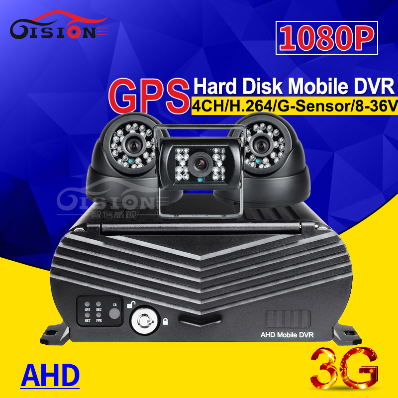 GPS Track 3G Network HDD Video Recorder Vehicle AHD 1080P Car Mobile Dvr Real Time Surveillance Cyclic Recording +3PCS Camera