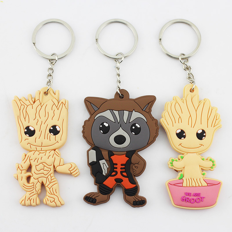 30pcs/lot <font><b>Guardians</b></font> <font><b>of</b></font> <font><b>the</b></font> <font><b>Galaxy</b></font> Figure Toys Tree People Groot Rocket Raccoon Keychains Pendant Figure Toys Free Shipping