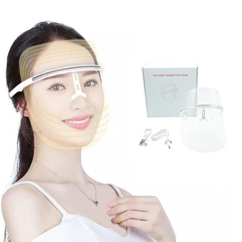 Accueil 3 en 1 rouge bleu jaune LED masque de visage Photon thérapie rajeunissement de la peau du visage élimination des rides électrique Anti-âge masque LED