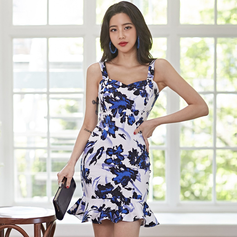 Sleeveless V Neck <font><b>Spaghetti</b></font> <font><b>Strap</b></font> Party <font><b>Dress</b></font> Women Fashion Summer Floral Print Ruffles <font><b>Sexy</b></font> Clubwear <font><b>Mini</b></font> <font><b>Dress</b></font> <font><b>Casual</b></font> Sundress image