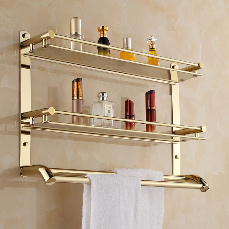 Wall Mount Stainless Steel 2 Layers Storage Basket Shower Bathroom Towel Rack Soap Dish Shampoo Rack Bathroom Shelves Lk10 weyuu bathroom shelves stainless steel 2 3 tier storage basket bathroom towel rack soap dish shampoo rack wall shower rack hook