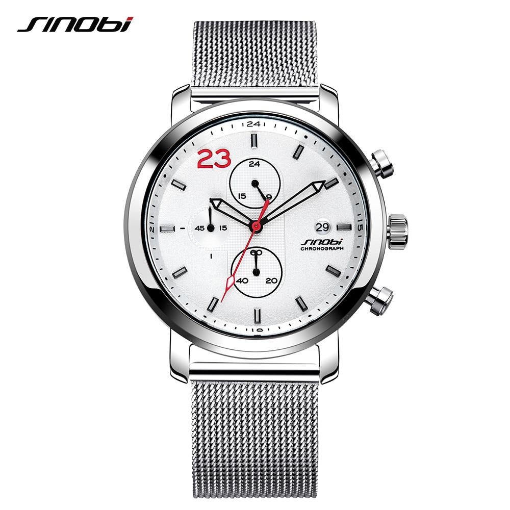 SINOBI Chronograph Casual Mens Watches Three Colors Leisure Stainless Steel Milanese Mesh Band Wristwatch Man Business kol saati
