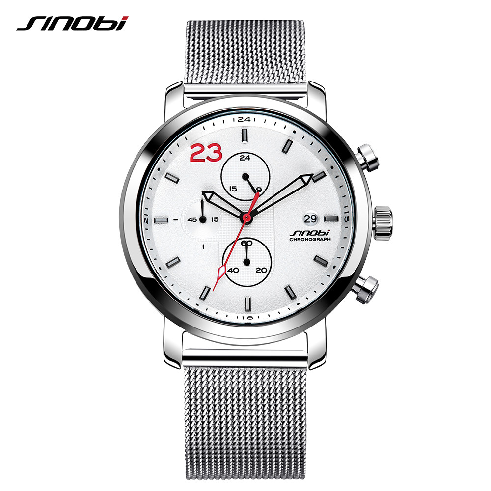SINOBI Chronograph Casual Mens Watches Three Colors Leisure Stainless Steel Milanese Mesh Band Wristwatch Man Business kol saati