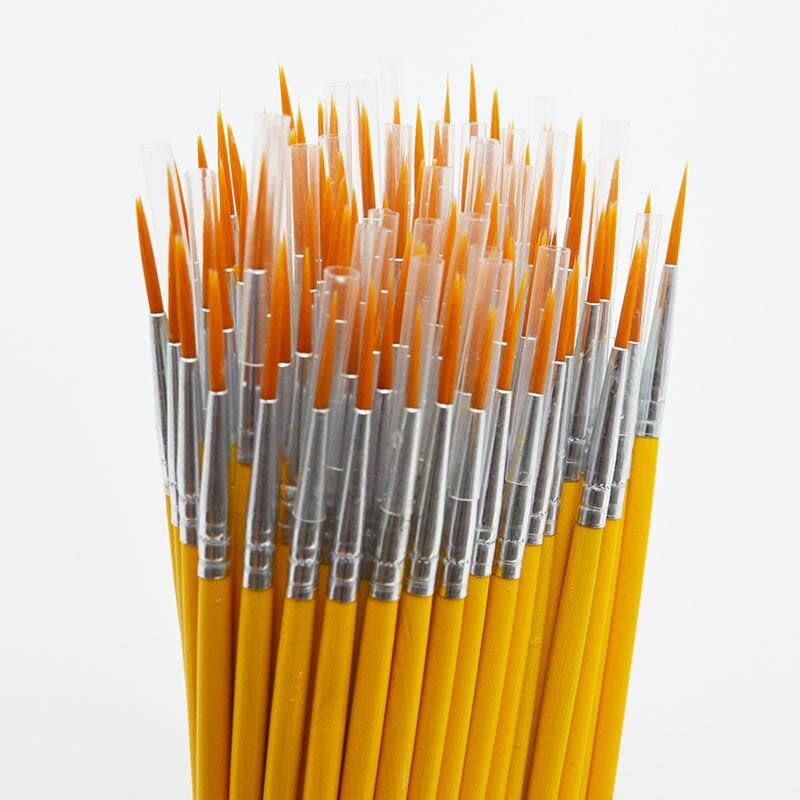 10 unids/set de cola larga nylonhair gancho línea lápiz pincel para pintar niños DIY suministros de arte herramienta artículos de dibujo artístico acuarela pluma de pintura