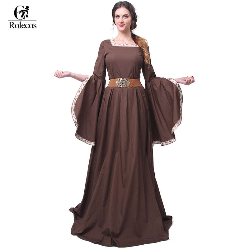 Rolecos Renaissance Victorian Medieval Maid Long Dresses Women Evening Dresses Brown Gowns Masquerade Party Costumes gown