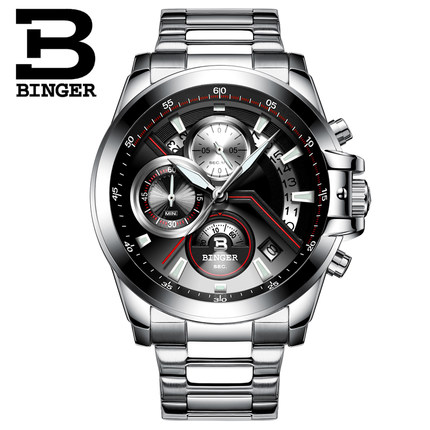 Luxury brand Binger watches men stainless steel business casual sport multifunction men quartz wristwatch waterproof hollow brand luxury binger wristwatch gold stainless steel casual personality trend automatic watch men orologi hot sale watches